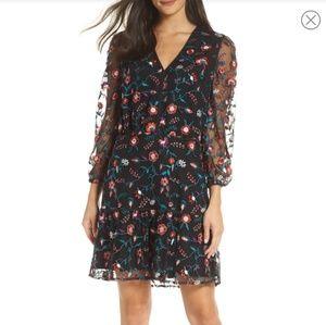 Sam Edelman Black Floral Embroidered  Dress 10